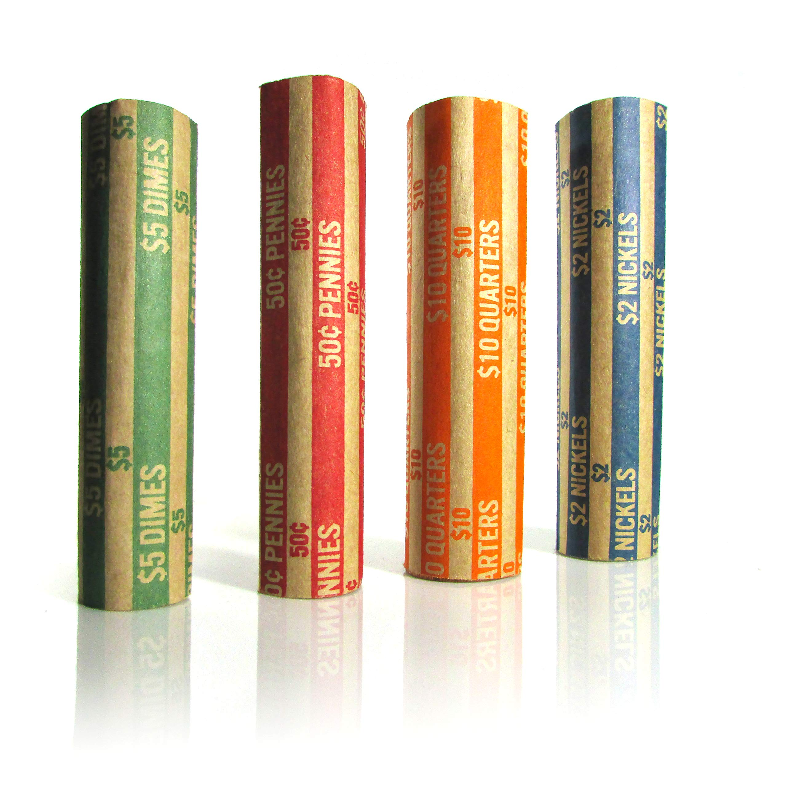 600 Coin Rolls Wrappers Packed and Assorted, 150 of Each |Quarters, Dimes, Nickels, Pennies|, ABA Color-Coded Kraft Paper Coin Money Organizers