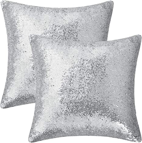 Silver Shiny Glittering Scaly sequins Sofa Cushion Cover Pillow Case 16/""