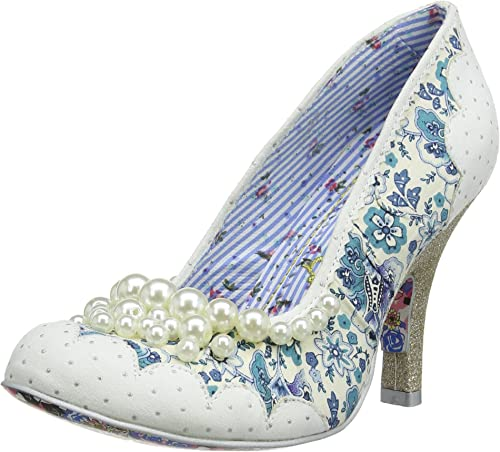 Irregular Choice Pearly Girly White Floral Womens Low Heels