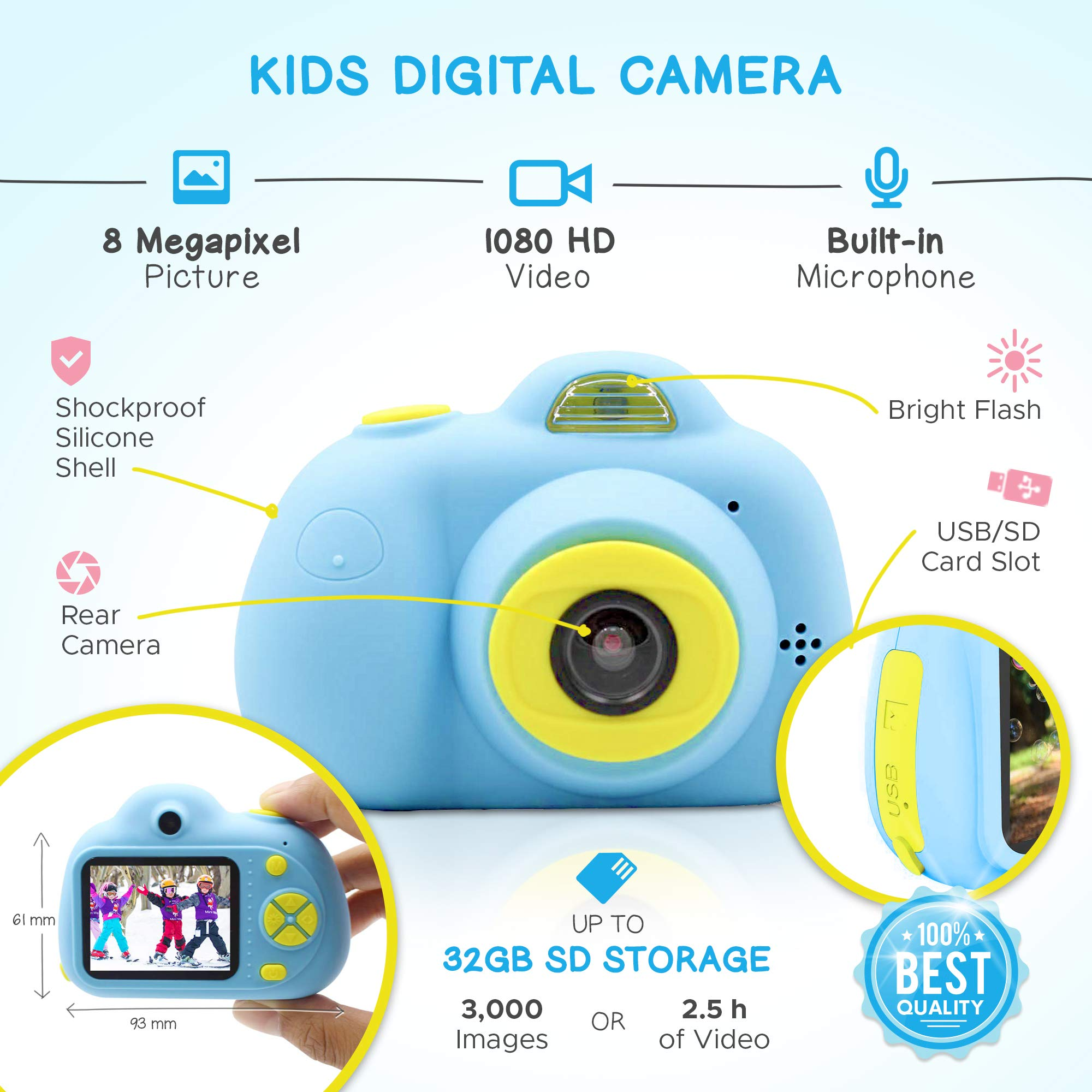 SANVOY Kids Camera - 8MP Photography and 1080 HD Video for Children - 2.0'' LCD Screen, 4X Digital Zoom with Selfie Function in Blue or Pink - Small Camera for Easy Transport by SANVOY (Image #3)