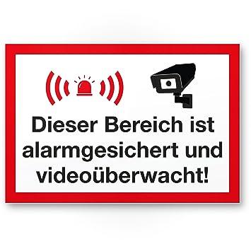 Hinweis//Hinweisschild Video/überwacht - Achtung//Vorsicht Video/überwachung Objekt Video/überwacht mehrsprachig Kunststoff Schild Warnschild//Warnhinweis Video/überwachung 20 x 30 cm