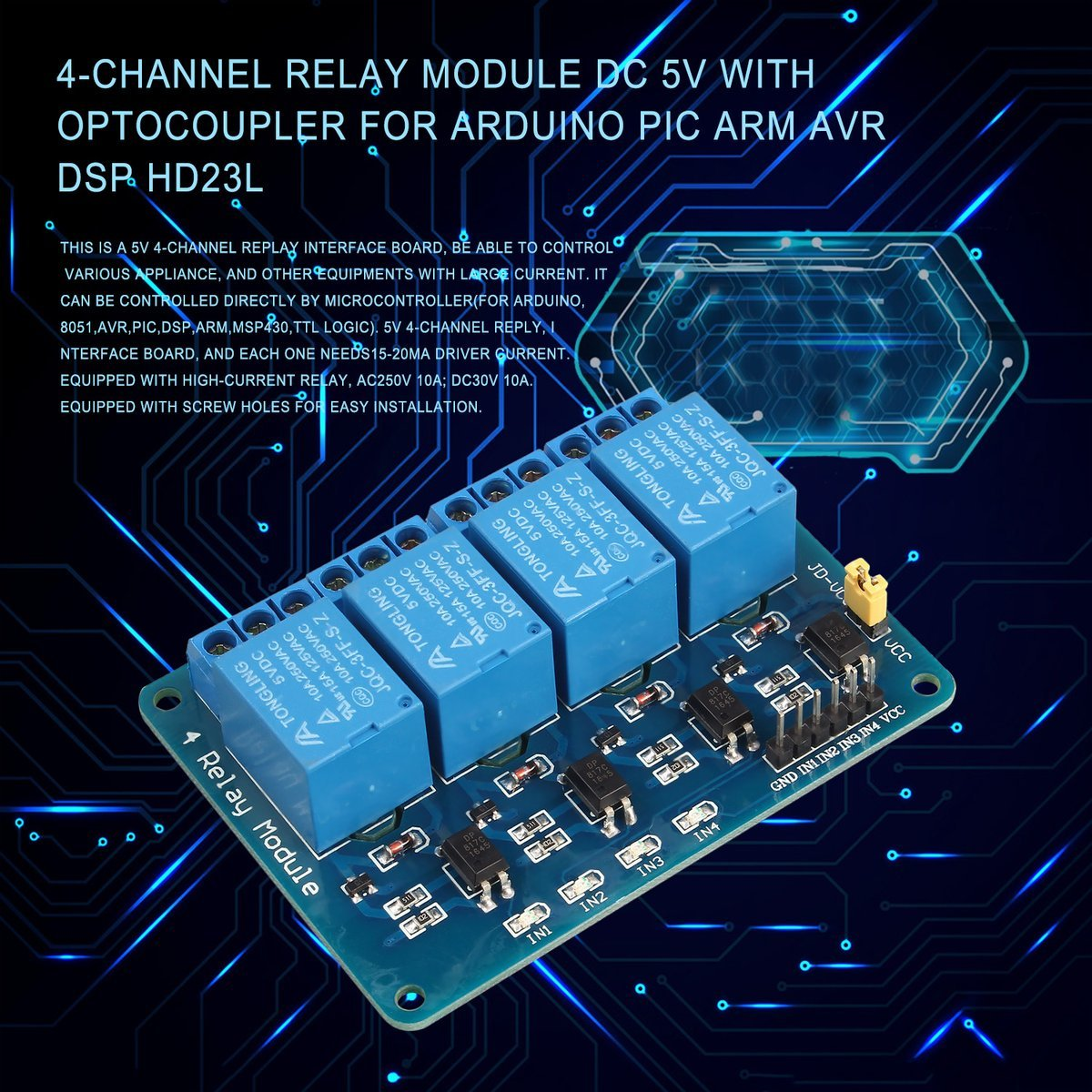 Mazur 4 Channel Relay Module Dc 5v With Optocoupler For Pic Arm Avr Circuit Diagram Dsp Hd23l Popular New Hotcolorblue Diy Tools