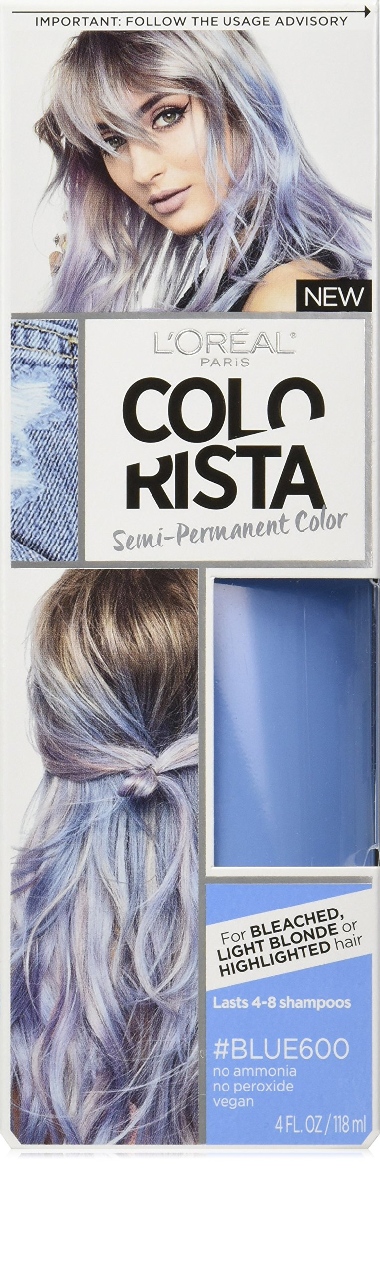 L'Oréal Paris Colorista Semi-Permanent Hair Color for Light Bleached or Blondes, Blue