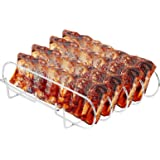 Large Rib Rack for Smoking & Grilling - BBQ Rib Rack Stainless Steel - Holds 4 Full Racks of Ribs - Easy to Use and Clean Rib