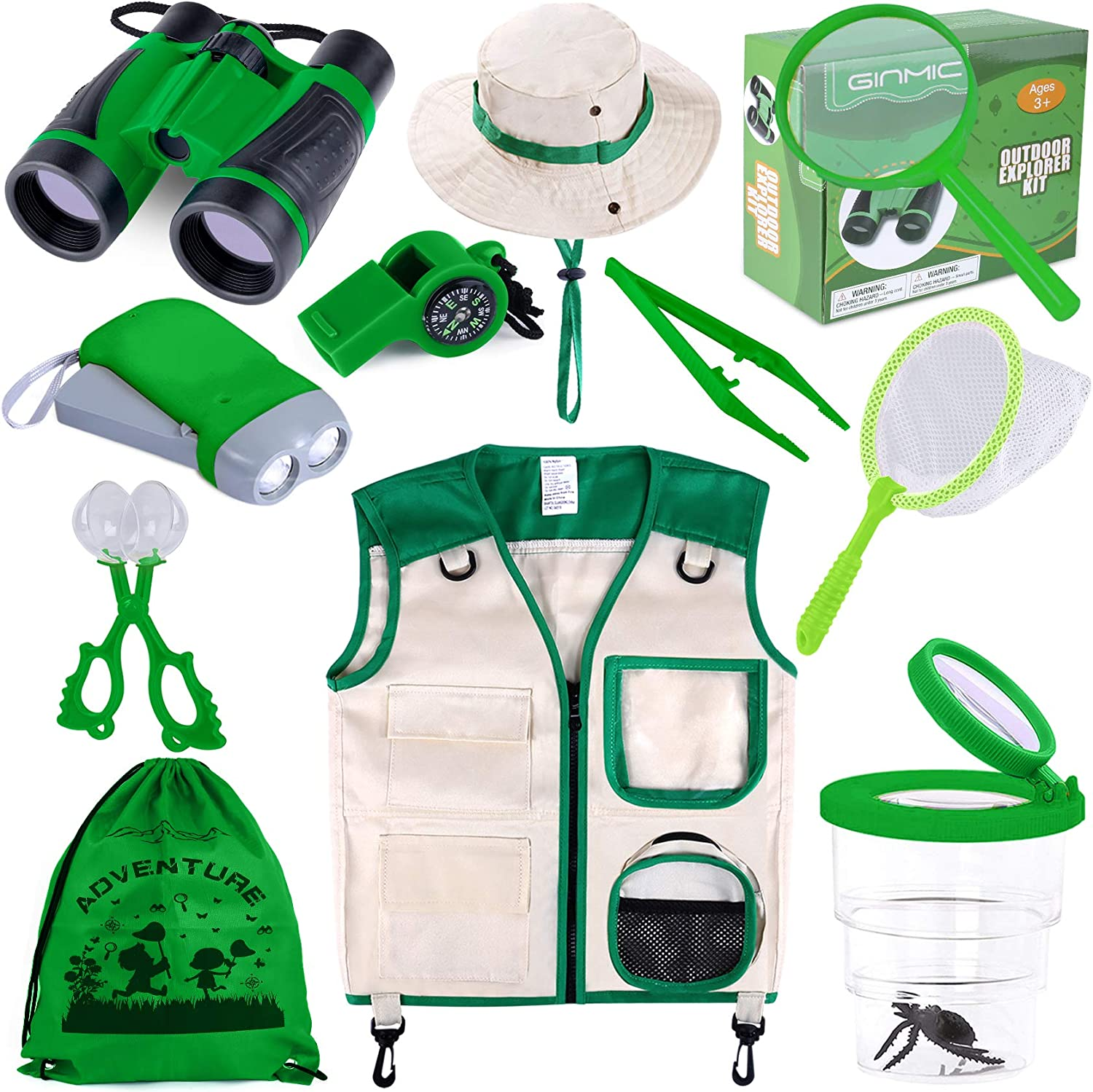 GINMIC Kids Explorer Kit & Bug Catching Kit, 11 Pcs Outdoor Exploration Kit for Kids Camping with Binoculars, Adventure, Hunting, Hiking, Educational Toy Gift for 3-12 Years Old Boys Girls