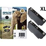 Epson Original 24XL Nero-Cartuccia d'inchiostro ad alta capacità, a forma di elefante, (confezione da 2)