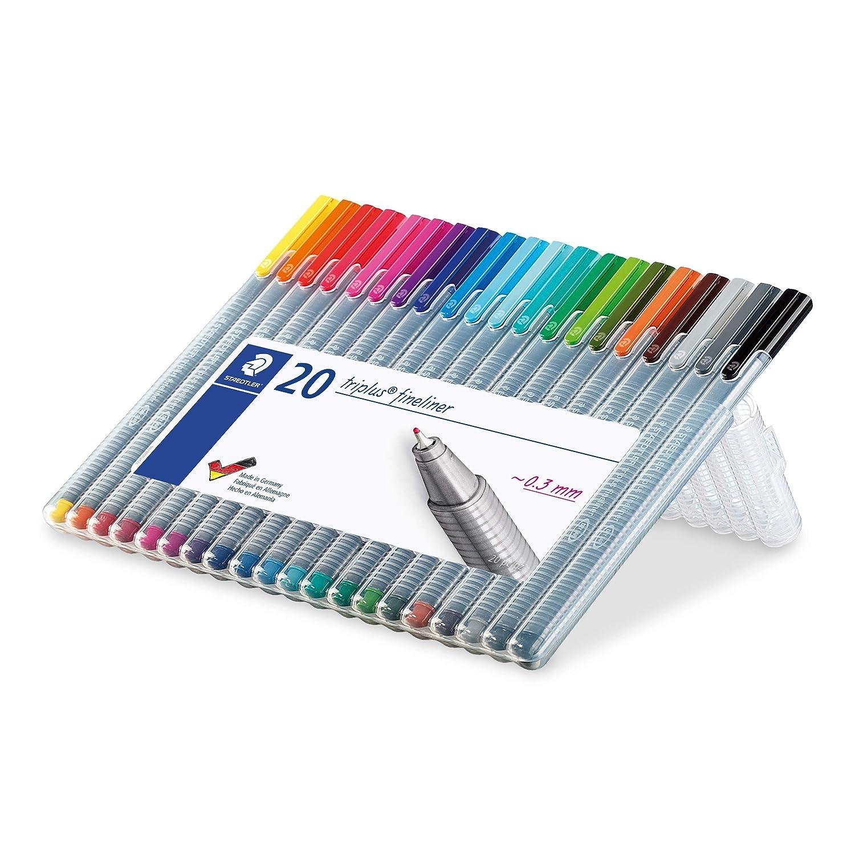 Staedtler triplus 334 SB20 Fineliner dreikant Set mit 20 brillanten Farben