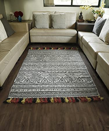 christmas gifts area carpet rug printed tribal design cotton floor mat with tassels for dining room - Dining Room Floor Mat