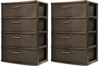product image for STERILITE 4 Drawer Wide Weave Tower, Espresso - 2 Pack