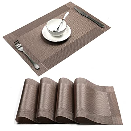 Uu0027artlines 18u0026quot;x12u0026quot; PVC Placemats For Dining Table Stain Resistant  Woven