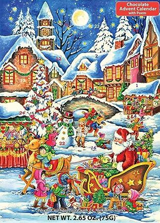 Amazon.com: Santa's Here Chocolate Advent Calendar 2.65 oz (75 g ...