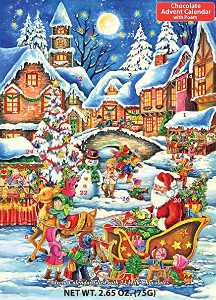 Amazon.com: Santa's Here Chocolate Advent Calendar 2.65 oz (75 g ...