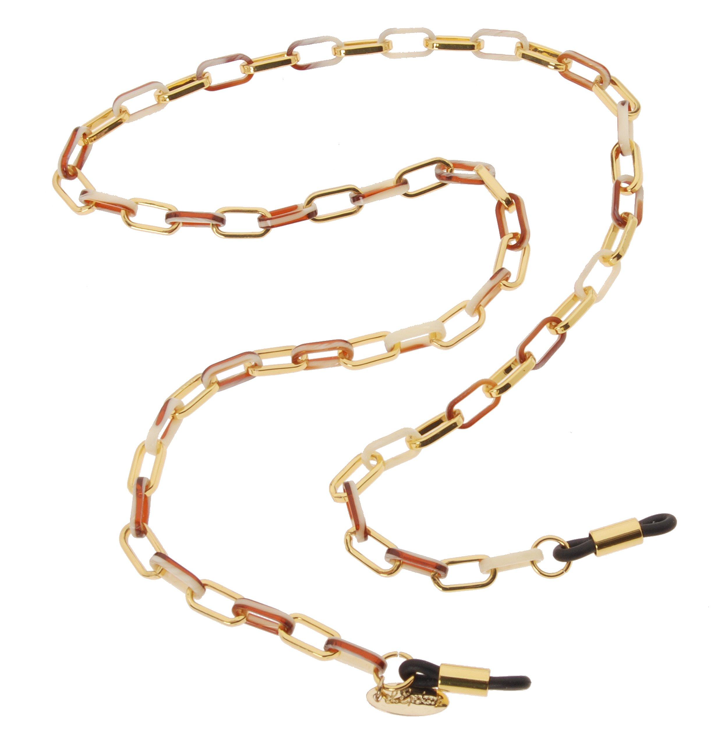 L. Erickson Magdelan Mini Metal Link Eyeglass Chain - Natural Horn/Gold