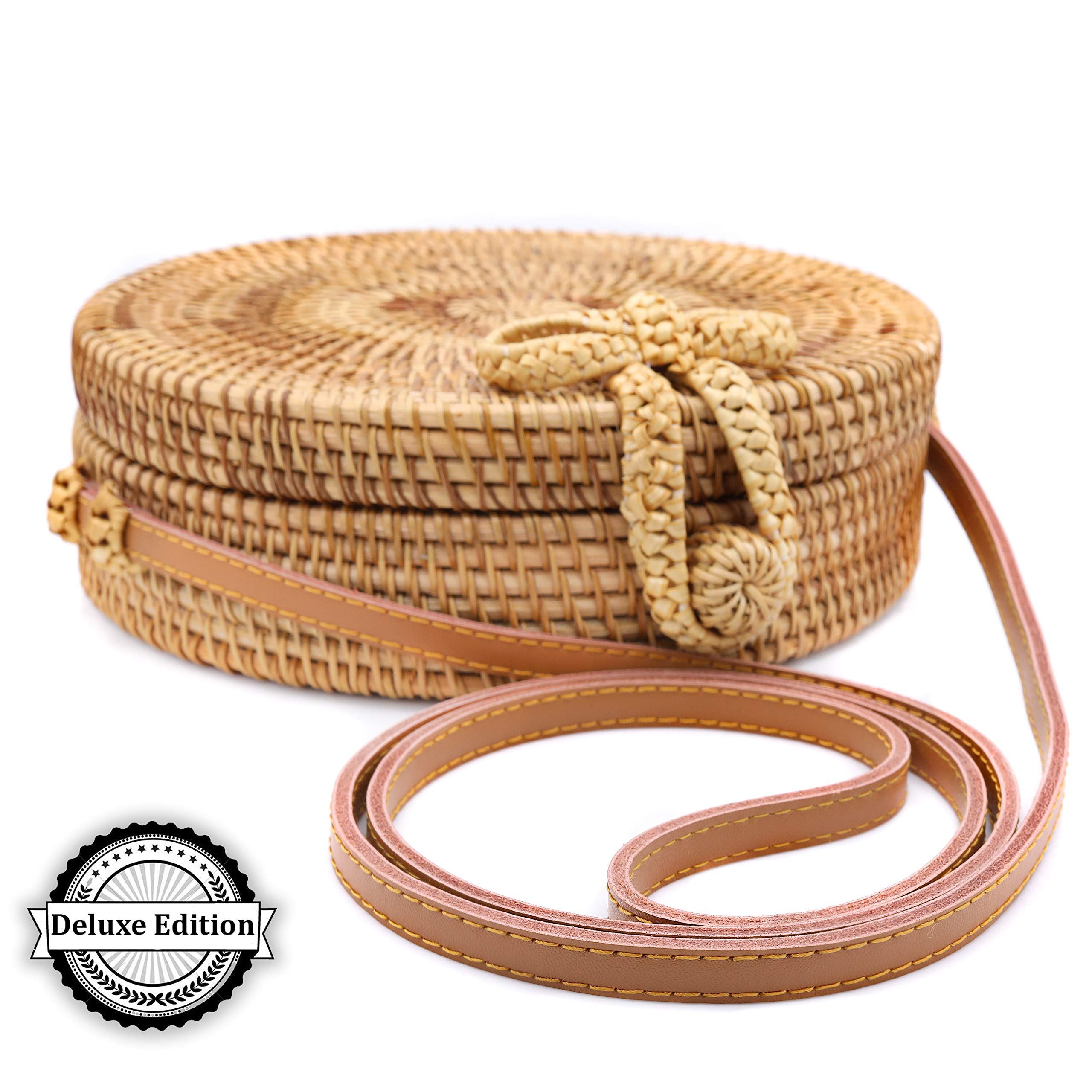 RATTAN NATURALS Handwoven Round Rattan Crossbody Bag| DELUXE EDITION | Round Straw Bag for Women | Genuine 100% Leather Shoulder straps | Straw purse For Women | Boho bag | Straw Handbag for Women by Rattan Naturals (Image #1)