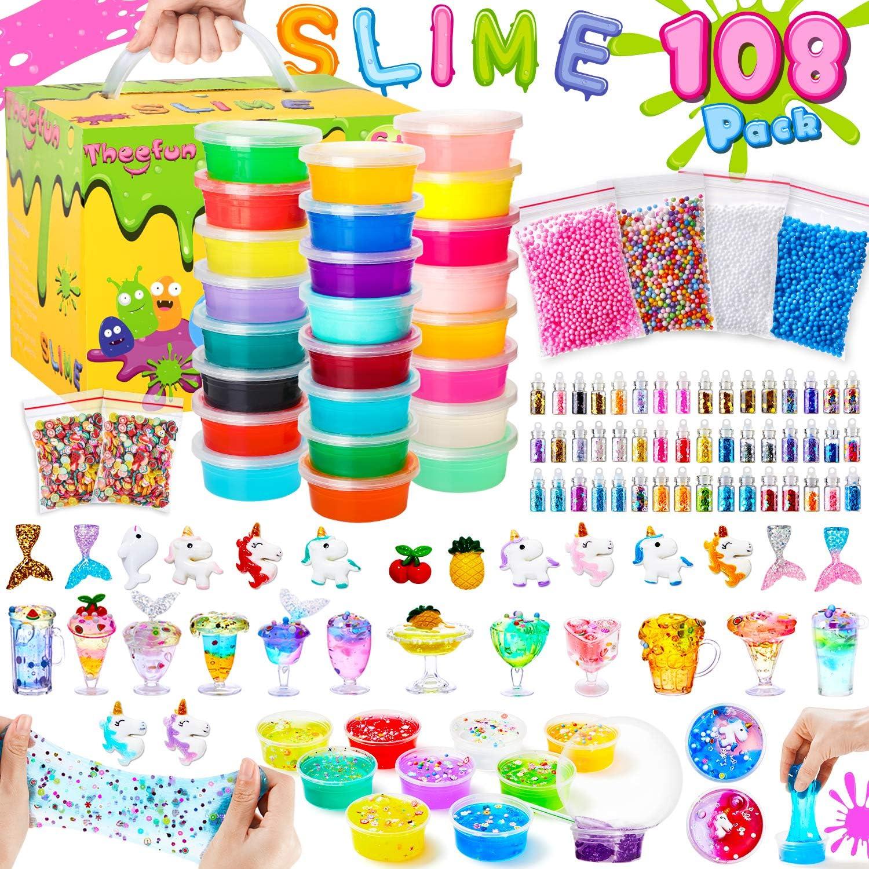 Theefun DIY Kit de gelatina, Contiene Botes con Slime de Todos los Colores, Polvos Brillantes, Bolas de Espuma y Muchas Cosas más Juguete Ideal para Entretenimiento y Alivio del estrés de los niños