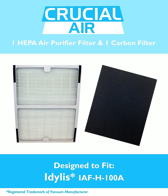 amazoncom idylis hepa air purifier filter u0026 carbon filter fits idylis air purifiers iap10100 iap10150 model iafh100a by think crucial home u0026