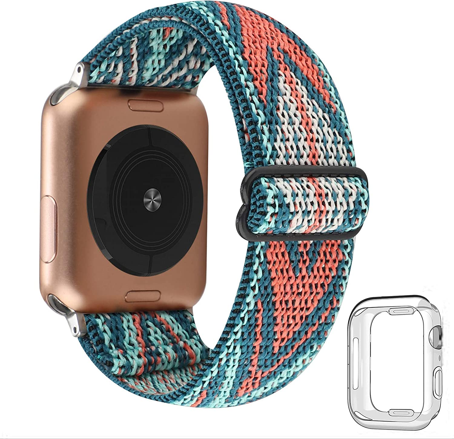 Adjustable Stretchy Solo Loop Nylon Strap Compatible with Apple Watch Elastic Band 42mm 44mm iWatch Series SE/6/5/4/3/2/1 (Green Arrow with Series 6/5/4 Clear Case, 42mm/44mm)