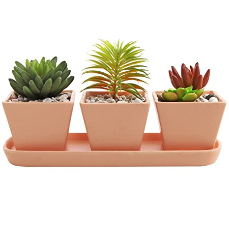 3 inch small square terracotta clay garden planter pots with oval drainage tray set of - Garden Pots