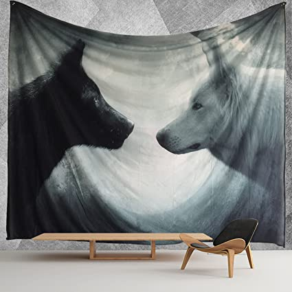Attrayant HWMR Howling Wolf Wall Decor Art Wolf Tapestry Wall Hanging Light Weight  Polyester Fabric Wall