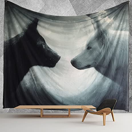 HWMR Howling Wolf Wall Decor Art Wolf Tapestry Wall Hanging Light Weight  Polyester Fabric Wall