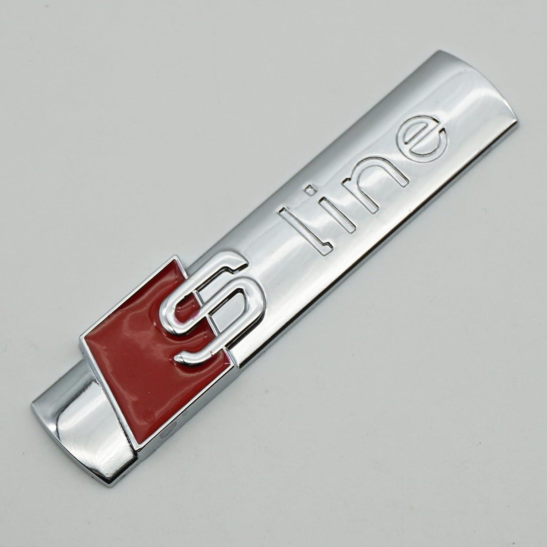Matt silver 2Pack SLINE 3D Metal Car Emblem Badge Sticker Replacement For A4 A6 A8 Q5 Q7 Tt