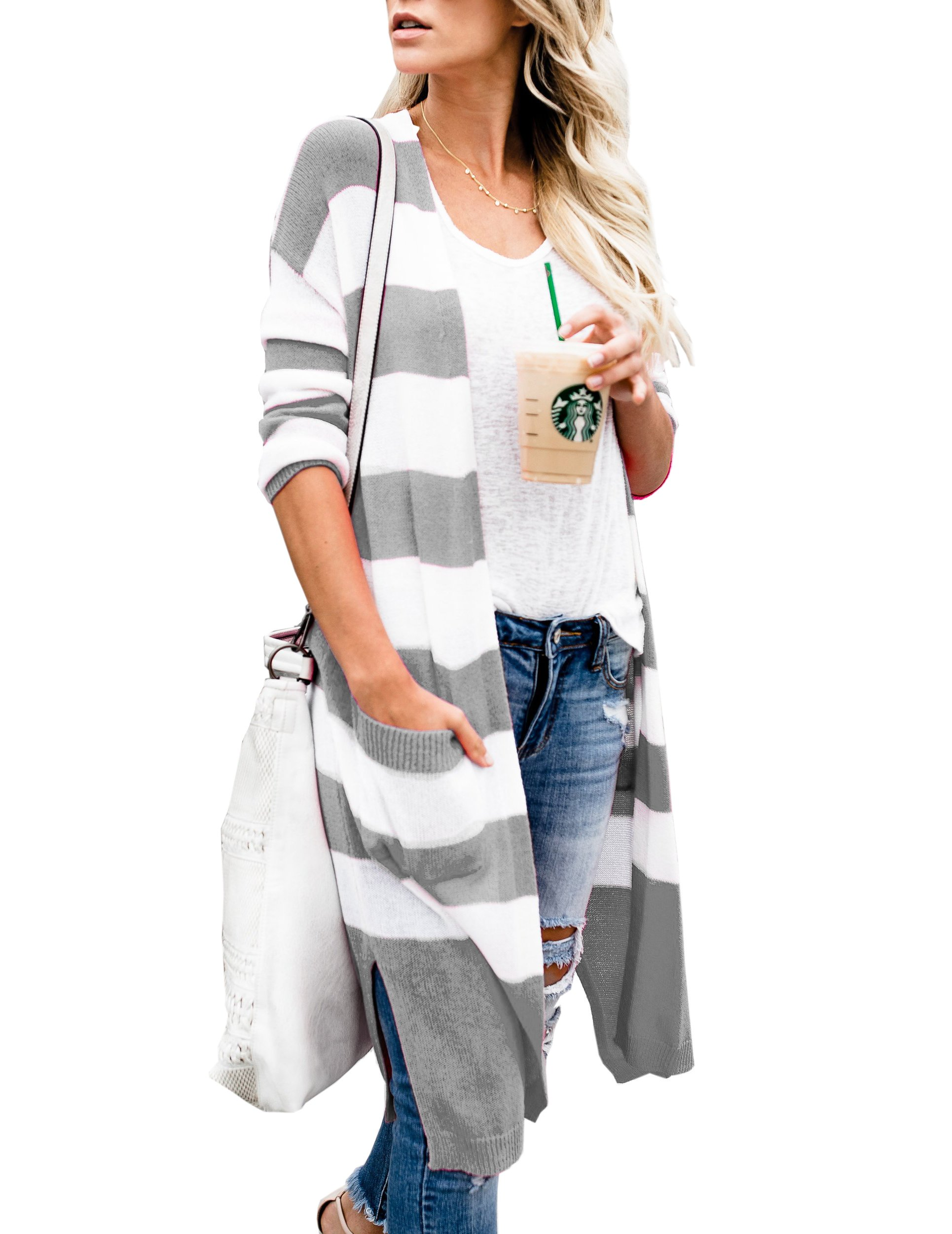 Niitawm Womens Casual Striped Pockets Cardigans Long Sleeve Knit Lightweight Open Front Cardigan Sweater (L,Light Grey)