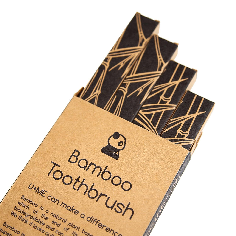 Amazon.com: U+ME - Cepillo de dientes de madera de bambú 100 ...