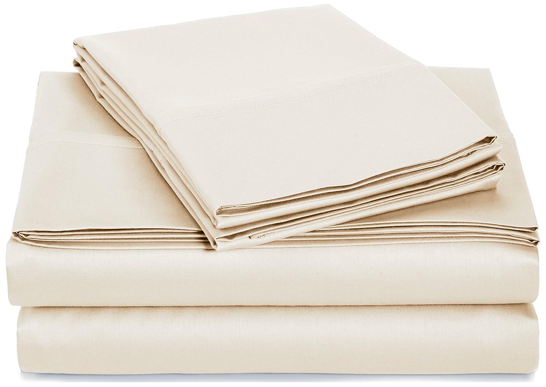 Beige California King AmazonBasics 400 Thread Count Sheet Set, 100% Cotton, Sateen Finish - Queen, Seafoam Green