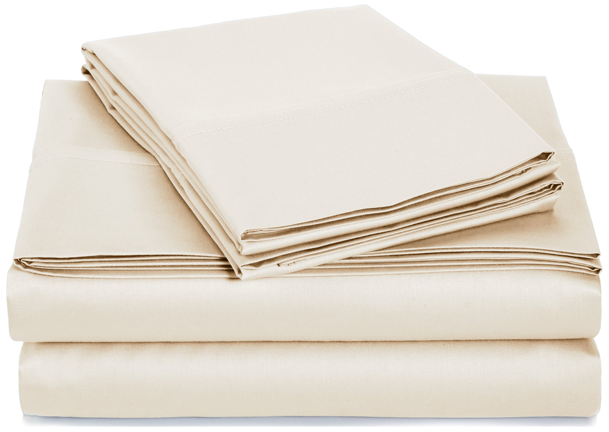 AmazonBasics 400 Thread Count Sheet Set, 100% Cotton, Sateen Finish - Full, Beige