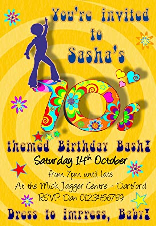 personalised 70s birthday party invitations x10 amazon co uk toys