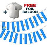 Party Decor Set to Celebrate Football World Cup 2018 - Argentina Flags - bunting and free foil balloon