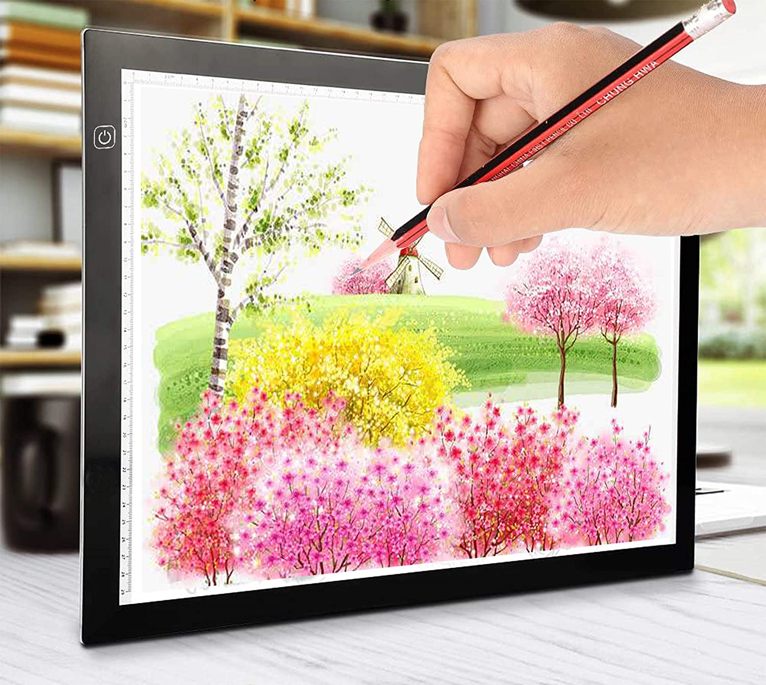 Ultra-Thin Portable LED Light Box Tracer USB Power Cable Dimmable Brightness Artcraft Tracing Light Pad Light Box for Diamond Paint Artists Drawing Sketching Designing Stencilling A4