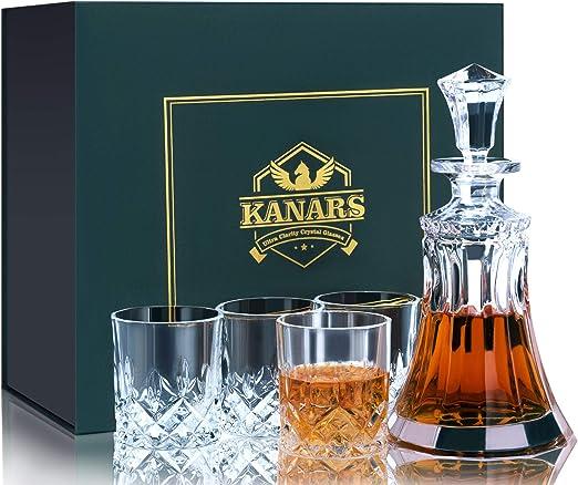 KANARS Juego de Jarras y Vasos de Whisky, Cristal Sin Plomo con 4 Vasos de Vidrio, Caja de Regalo con Estilo Única, 5 piezas