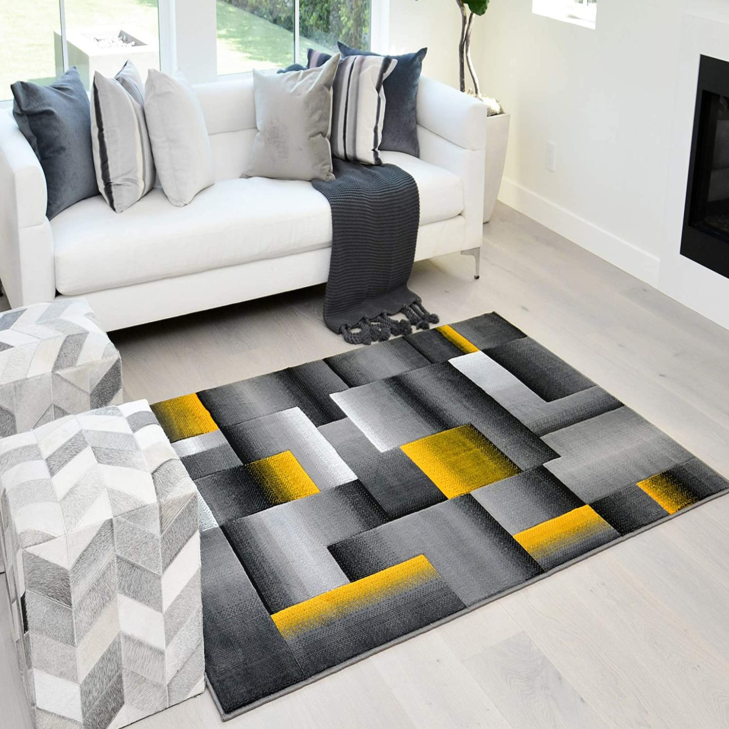 Amazon Com Handcraft Rugs Abstract Geometric Modern Squares Pattern Yellow Orange Silver Gray Black Area Rug 5x7 Kitchen Dining
