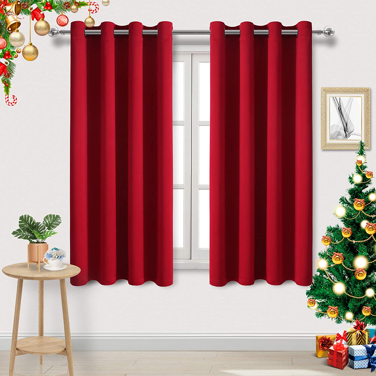 DWCN Red Room Darkening Blackout Curtains - Thermal Insulated Privacy Energy Saving Window Curtain Drapes 52 x 63 inch Length, Set of 2 Bedroom Living Room Curtains
