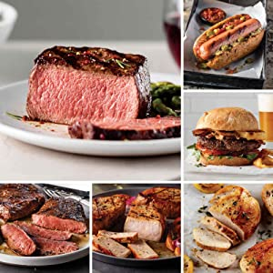 Omaha Steaks Cookout Favorites from Omaha Steaks (Top Sirloins, Flat Iron Steaks, Boneless Pork Chops, Boneless Chicken Breasts, Omaha Steaks Burgers, Gourmet Jumbo Franks, and Signature Seasoning)