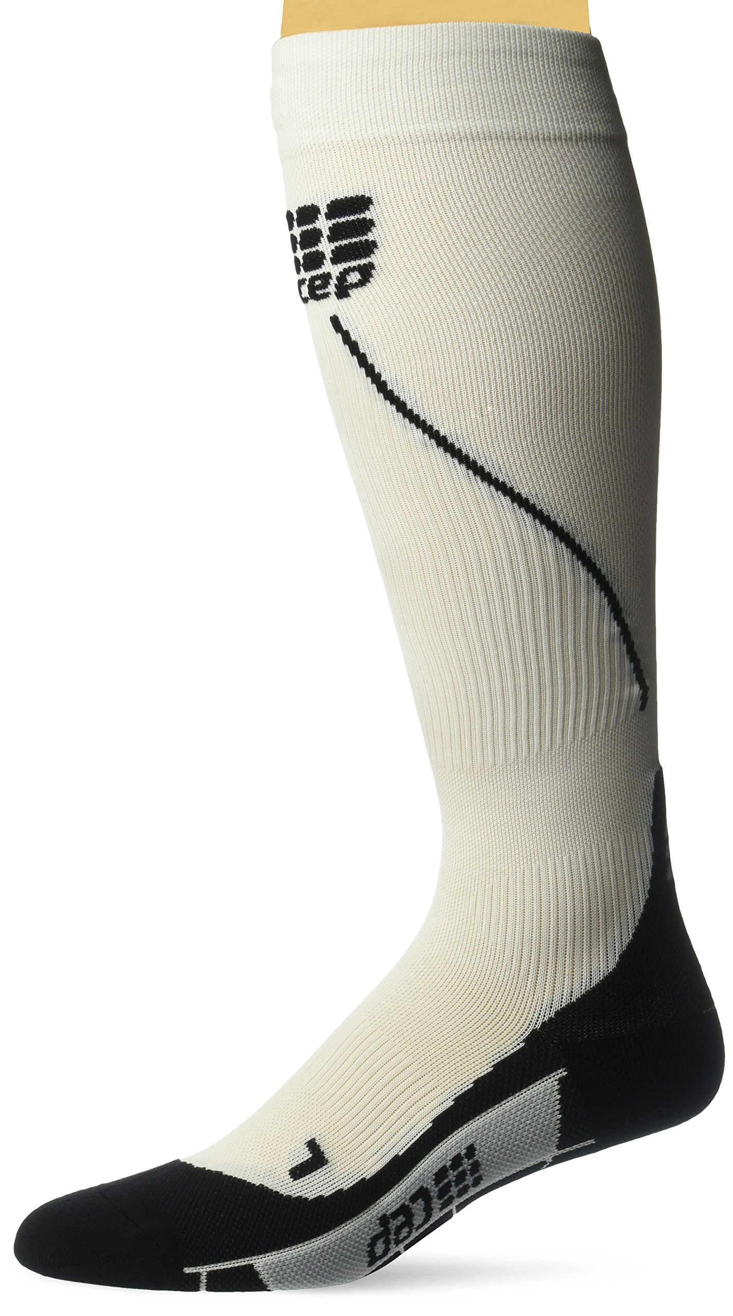 CEP Men's Progressive+ Compression Run Socks 2.0 for Running, Cross Training, Fitness, Calf Injuries, Shin Splits, Recovery, and Athletics, 20-30mmHg Compression, White/Black, Size 3 by CEP