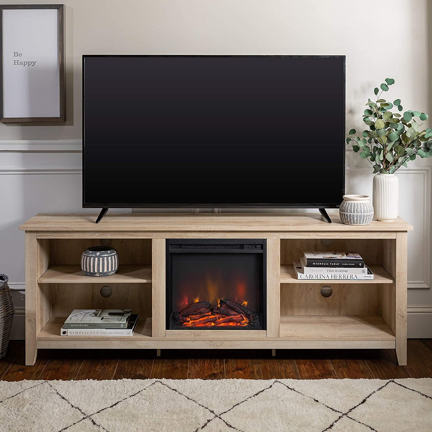 Amazon Com We Furniture 70 Inch Wood Media Tv Stand Console With