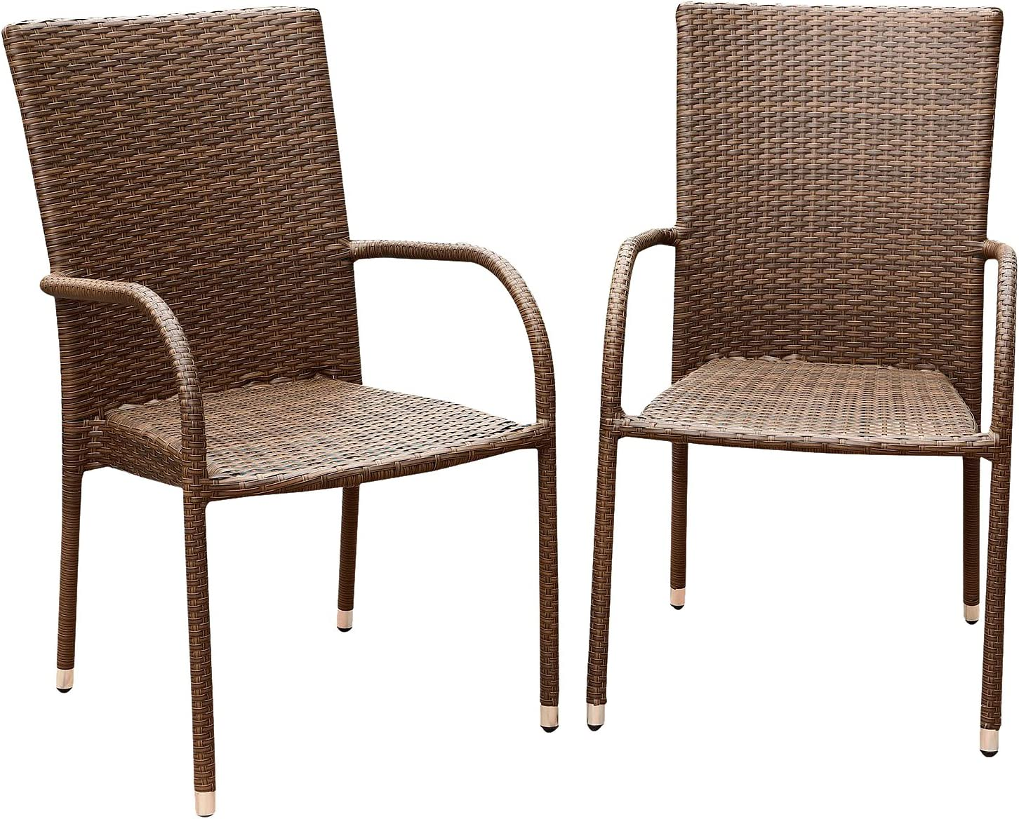 Abbyson Palermo Outdoor Wicker Dining Armchair, Brown, Set of 2
