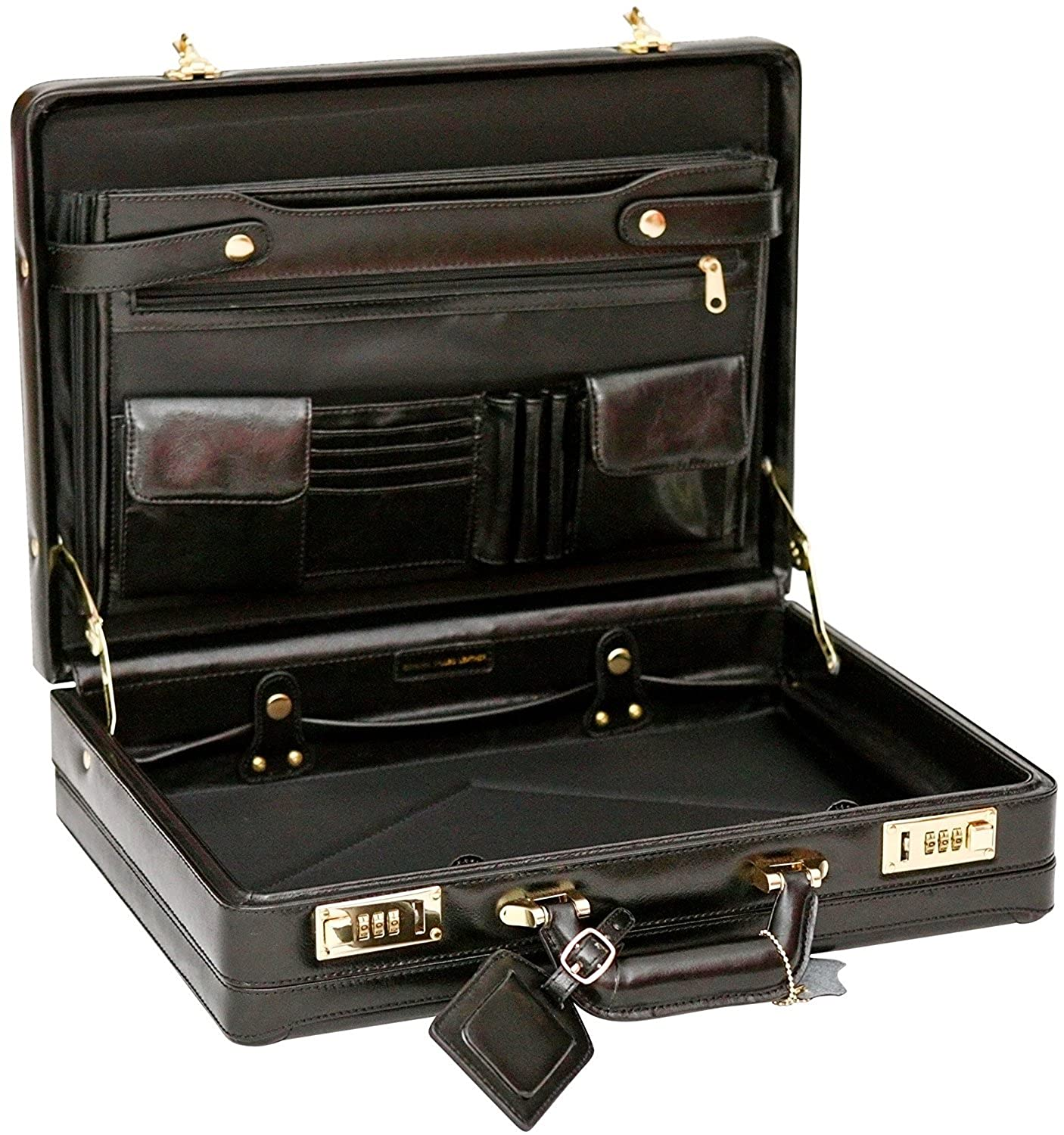 Tassia Bonded Leather Attaché Briefcase - Internal Expanding Filing Pockets  - Black  Amazon.co.uk  Clothing eeed720b488fc