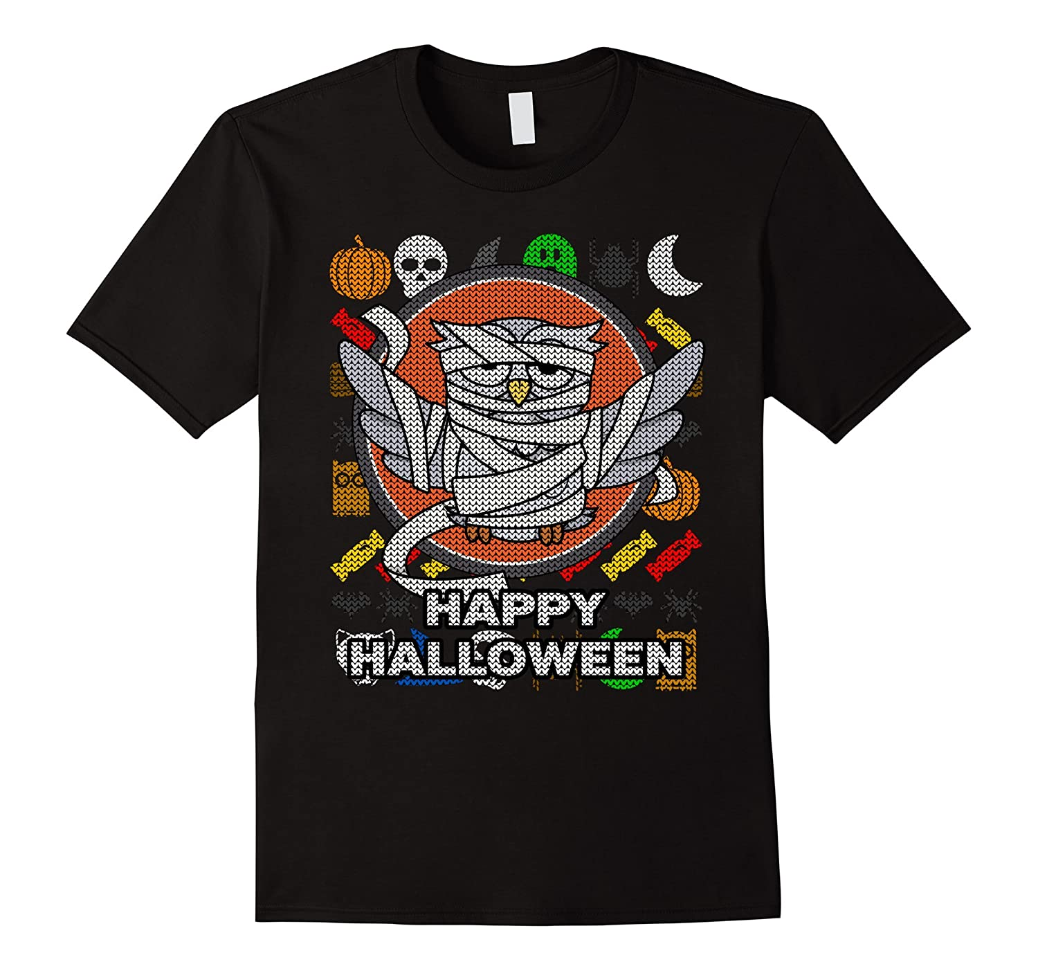 Mummy Owl Ugly Sweater Style T-shirt - Happy Halloween