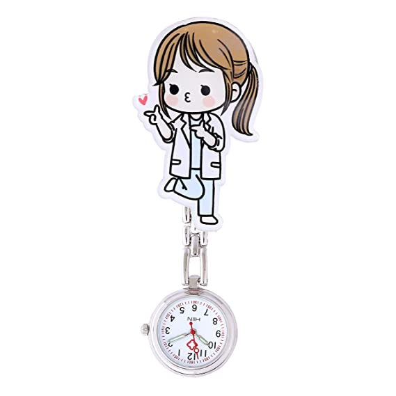 Moda Linda Reloj de Bolsillo para Enfermera - Clip-on Colgante Hanging  Números Arábigos Dial Redondo Reloj de Bolsillo para Paramédico Doctor 877164c05651