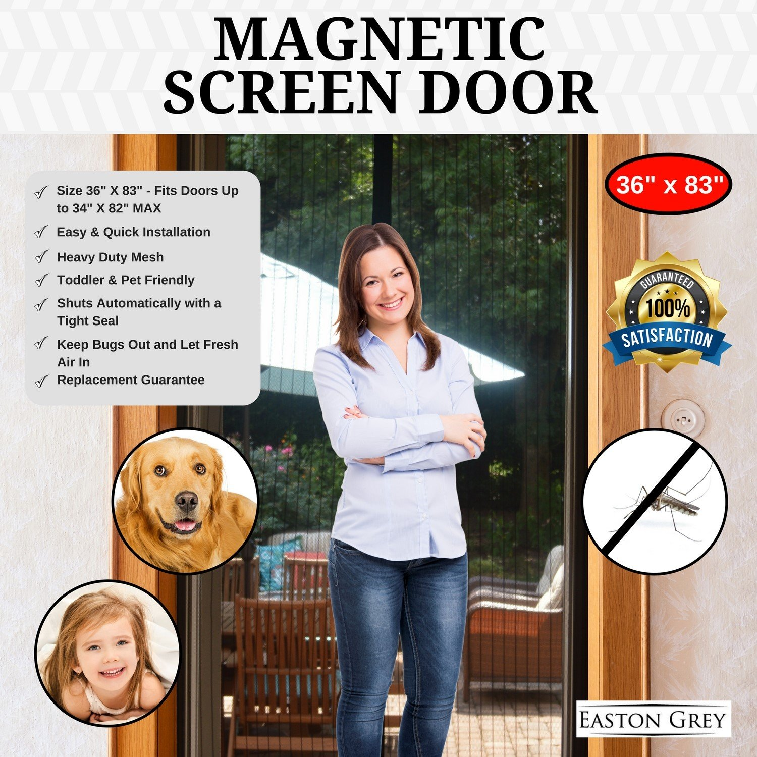Details about Magnetic Screen Door Bug Insect Fly Sliding Glass Patio  Removable Apartment Mesh