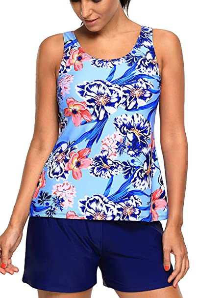 5e617051b0a WoldGirls Women's Plus Size Two Piece Bathing Suit Tankini and Short  Swimsuits: Amazon.ca: Clothing & Accessories