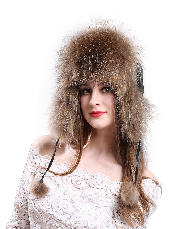 LITHER Women's Winter Trapper Hat Genuine Raccoon Fur Russian Ushanka Hat