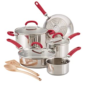 Rachael Ray Create Delicious Stainless Steel Pots and Pans Cookware Set, 10-Piece, Red Handles