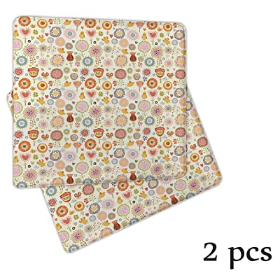 Atokker Kids,Bench Cushion Desk Chair Cushion Retro Ornate Flowers in Drawing Style Little Hearts Cute Singing Birds Lovely Garden DChair Cushionrative Seat Cushions 2 Pack: Kitchen & Dining
