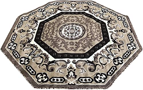 Traditional Oriental Persian Octagon Area Rug Beige Brown Ivory Oriental Design 101 7 Feet 3 Inch X 7 Feet 3 Inch