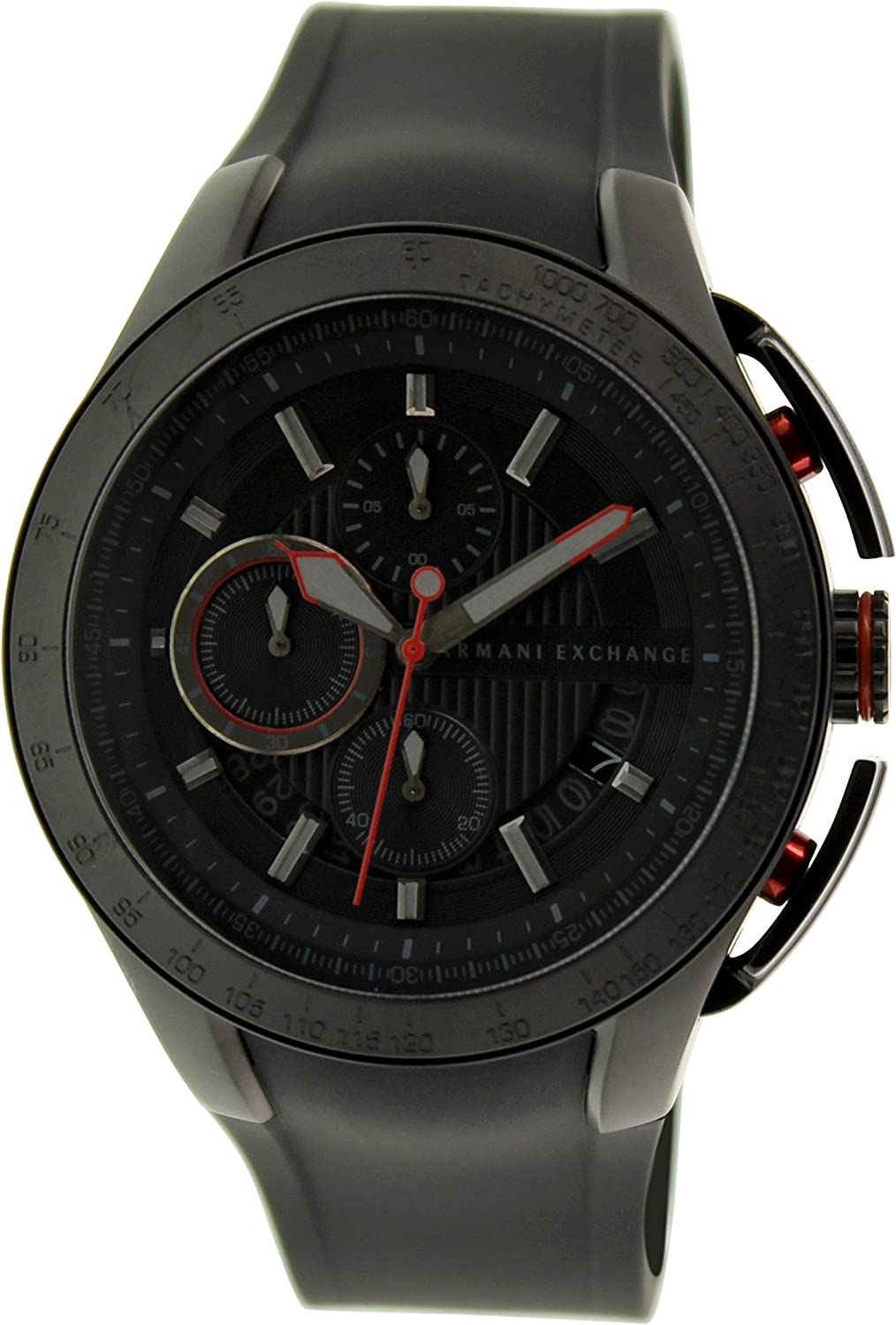 b54521fac01 Amazon.com  AX1401 Armani Exchange Black Silicone Chronograph Mens Watch  Armani  Exchange  Watches