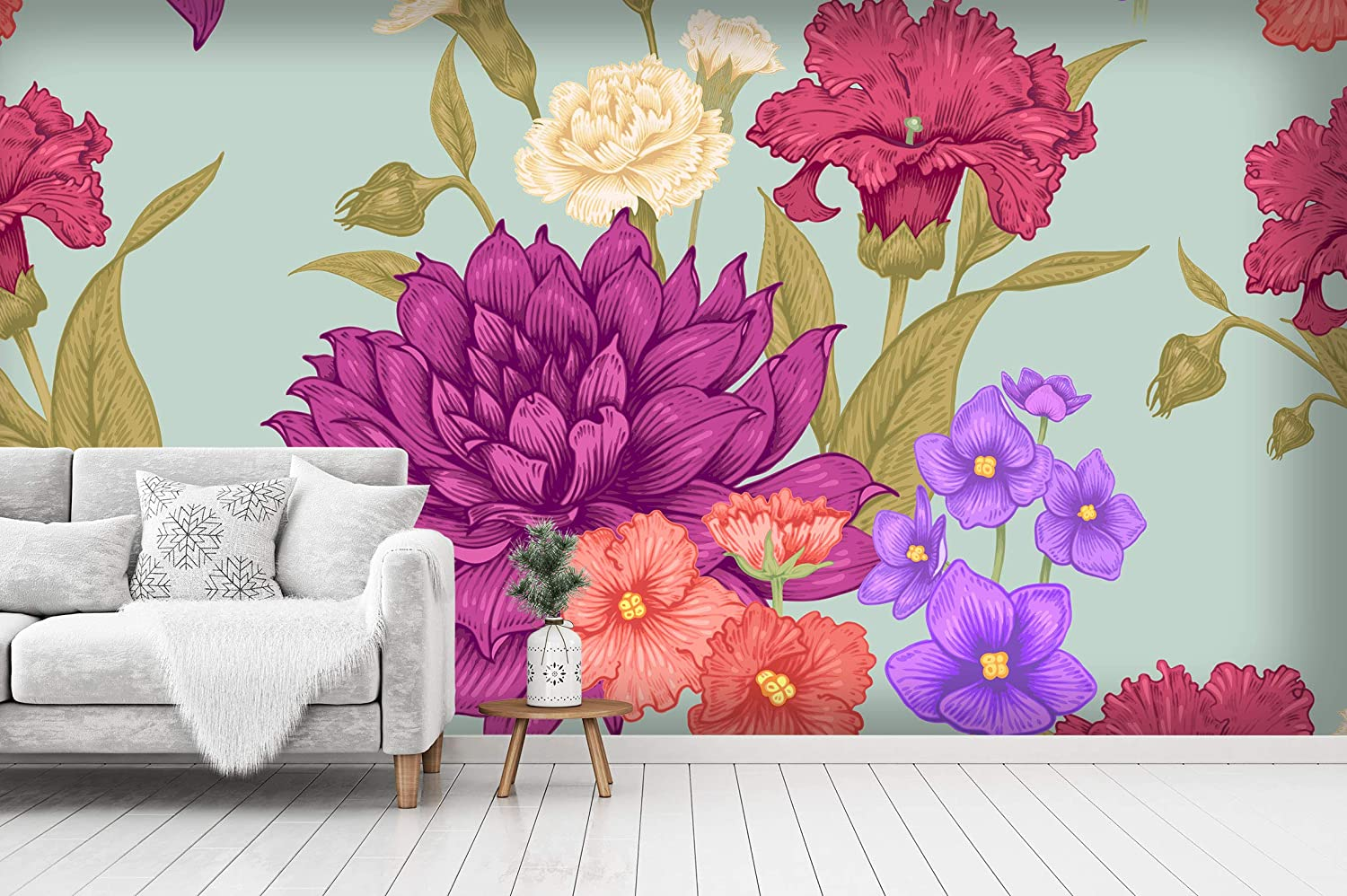 Wallpaper 3D Peel and Stick Self-Adhesive Wall Mural Floral f-B-0214-j-a